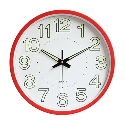 Jeteven Rund 30cm Wanduhr fest ohne Tickgeräusche Lautlos Wanduhr Luminous Wall Clock(Rot)