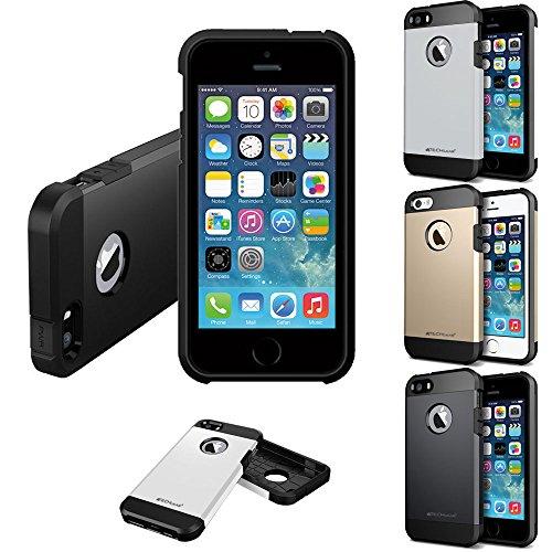 Coque Apple iPhone SE, TECHGEAR® iPhone SE 5s 5 [FUSION ARMOUR] Coque Protective Svelte Anti-Choc (Blanc/Givré) ARGENT (TOUGH ARMOURED)