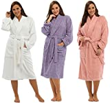 Ladies Luxury 100% Cotton Towelling Bath Robe Dressing Gown Wrap Nightwear Hooded & Non Hooded