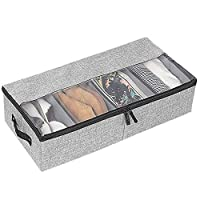 Odibess Shoe Storage, Underbed Shoe Storage, Multifunction Foldable Shoe Storage Box with Transparent PVC Cover and Removable Velcro Dividers Organizer for Shoes Storage Clothing Organization