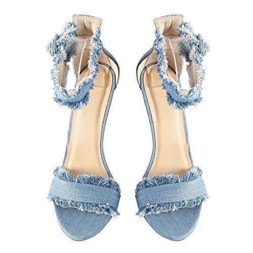 Damen Sommer Open Toe Sandalen High-Heels Stiletto Cowboy Knöchelriemchen Blau