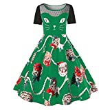 VEMOW Damen Elegantes Cocktailkleid Abendkleid Damen Mode Sleeveless Christmas Cats Musical Notes Print Beiläufig Täglich Vintage Flare Dress(X3-Grün, EU-48/CN-4XL)