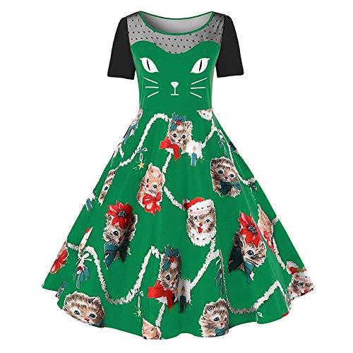 VEMOW Damen Elegantes Cocktailkleid Abendkleid Damen Mode Sleeveless Christmas Cats Musical Notes Print Beiläufig Täglich Vintage Flare Dress(X3-Grün, ()
