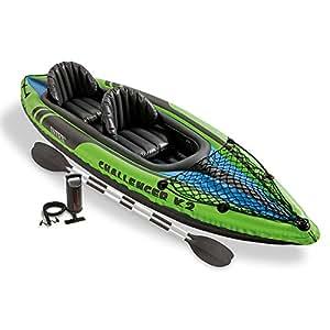 Intex 68306EP, Canotto Challenger K2 Kayak Gonfiabile per 2 Persone con Remi di Alluminio, Verde/Nero, 351 x 76 x 38 cm