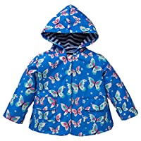 Whhhherr Little Girls Hooded Long Sleeve Windproof Rainproof Jacket Raincoat With Butterfly Pattern