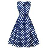Kleider Damen A-Line Vintage 1950er Cocktailkleid Ärmellos Retro Abendkleid Schwingen Pinup Rockabilly Kleid Große Größen Polka Dot PartykleidL