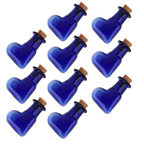 10pcs Mini Vasetti Di Bottiglia Di Vetro Flaconcini Ciondolo Bottiglia Con Tappo In Sughero - Cuore Obliquo
