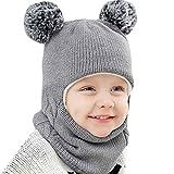 Mitlfuny Unisex Baby Kinder Jungen Zubehör Säuglingspflege,Kid Baby Boy Girl mit Kapuze Schal Caps Hut Winter warme Strick Flap Cap Schal
