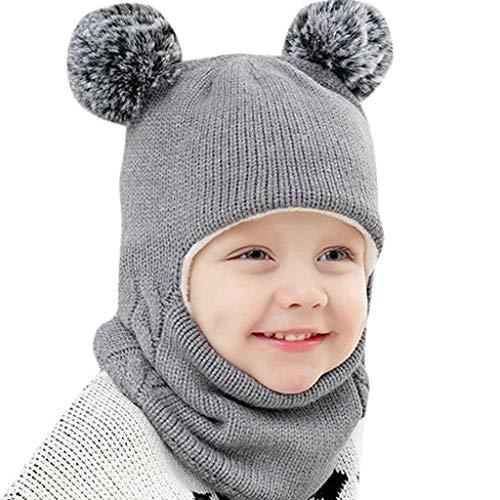 MRULIC Baby Schal Set Warme Mütze Strickmütze Unifarbe Wintermütze Unisex Kinder Beanie Mütze Schlauchschal Set Lätzchen(Grau,40-52CM)