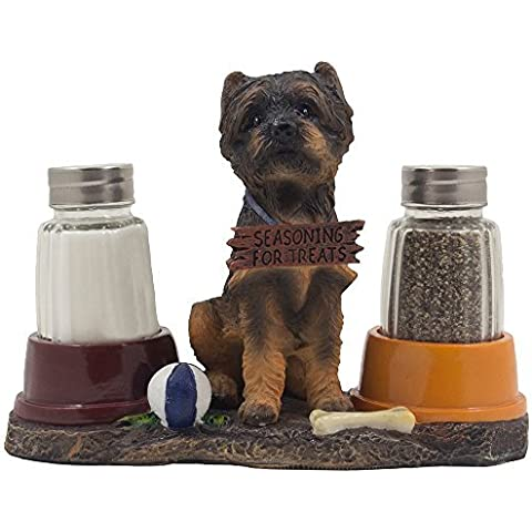 Lovable Yorkie Puppy Dog Glass Salt and Pepper Shaker Set on Figurine Display Stand Holder with Food Bowls for Yorkshire Terrier Design Kitchen Decor Spice Racks As Decorative Table Centerpieces or Gifts for Pet Owners by Home-n-Gifts