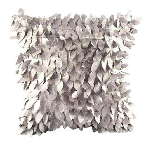 Ronamick Kissenbezug, 43 x 43 cm, Blätterfedern, quadratischer Kissenbezug für Weihnachten, Partys, Polyester, Gy, 43cm*43cm/17