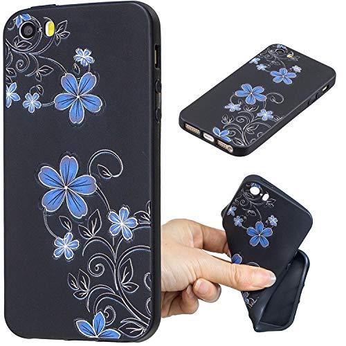 Carols iPhone 5 5S 5G / iPhone SE Custodia, [Black] Cover Case Bumper Caso Matte Matte Silicone Gel per iPhone 5 5S 5G / iPhone SE - Fiore Blu