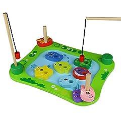 Idea Regalo - Legno Gioco di Pesca Giocattolo Educativo Magnetico con Ocean Animale Magneti per Bambini 3 Anni