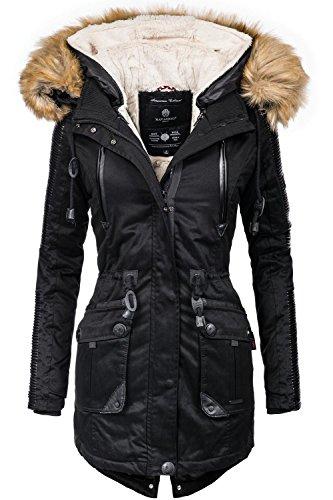 Navahoo Damen Jacke Winterjacke Winterparka Dunja (vegan hergestellt) Schwarz Gr. XL