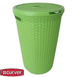 Curver panier vert à linge 48 litres couvercle tressée perméable à l'air