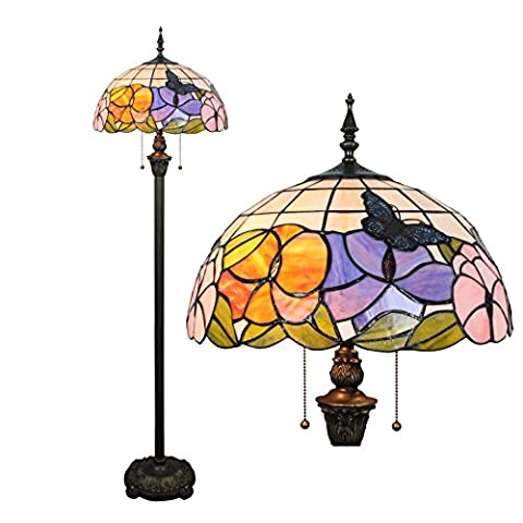 16 Inch Butterfly Flower European Pastoral Elegant Luxury Creative Handmade Stained Glass Floor Lamp