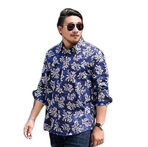 ZJEXJJ Herrenhemd Langarm Casual Top Blau Blumenmuster 3D Persönlichkeit T-Shirt Lose Baumwolle Stil Polo-Shirt (Farbe : Blau, größe : L) -