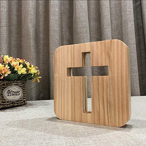 Hysxm Christliche Geschenke 3D Kreuz Schatten Led Holz Nachtlicht Usb Schreibtisch Tischlampe Christentum Kruzifix Handwerk Für Heimtextilien