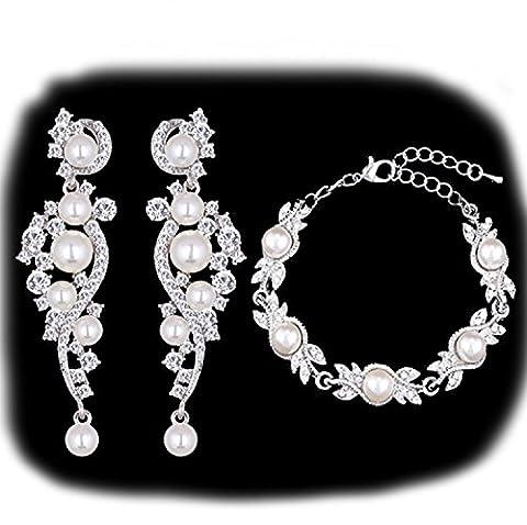 Schmuckset Armband Ohrringe Silber Strass Perlen Braut Hochzeit groß Schmuck