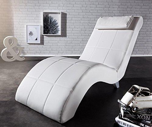 DELIFE Chaiselongue Lennox Creme Weiss 60x160 cm abgesteppt mit Nackenkissen Relaxliege