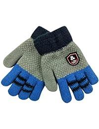 BZLine® 5-doigts Gants thermiques Hiver en laine tricotée style Migon pour Enfants 3-8 Ans