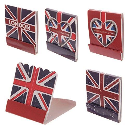 LONDON Lot de 4 Pochettes de mini limes à ongles - 4 x 5,5cm