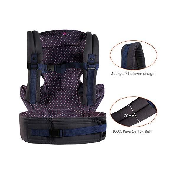"NEWSTYLE Baby Carrier Slings for Toddler,Safety Baby Front Back Carrier Infant Backpack Wrap,Premium Cotton Baby Carrier,Ergonomic All Position Baby Backpack for Newborn Infants Toddlers (Navy Blue)  ❤ Safe Material: Soft cotton 100%.Breathable fabric keeps baby skin dry.fast-drying,not fade,not sticky with wool. ❤ Ergonomic Design: Easy to adjust seat supports your baby in an ergonomic natural ""M"" position in all carry positions from baby to toddler.ensure baby's hips and legs are positioned correctly and comfortably. ❤Also Thoughtful Enough for You: Collapsible hood for wind and sun protection,Machine Washable, Lightweight, Foldable, Wide and thick backpack straps help relieve stress . Easy to put on or take off.all details are custom just for you. 5"