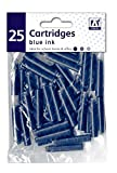 25 x standard taille bleu Universel Stylo plume Cartouche d'encre recharges