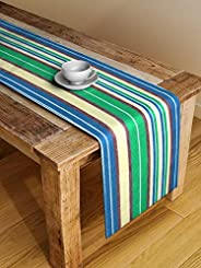 Dhrohar NEUDIS by Dhrohar Cotton Hand Woven Ribbed Table Runner for 6 Seater Table - Green and Yellow (33 X 18