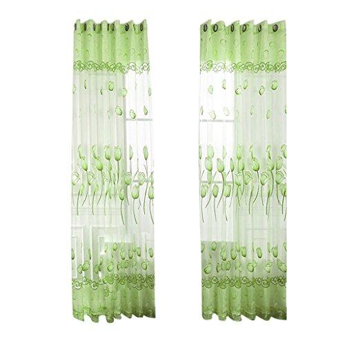 MagiDeal 100% Polyester Bestickt Ösenvorhang mit Kunstperlen , Tüll Vorhänge Voile Schiere Fenster Wohnzimmer Dekor , Blumen Design - Grün, 100 * 250cm -