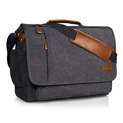 Estarer Sac Ordinateur Portable 15,6 -17,3 pouces Homme Toile Vintage Sacoche Bureau Bandoulière pour Travail et Ecole Gris