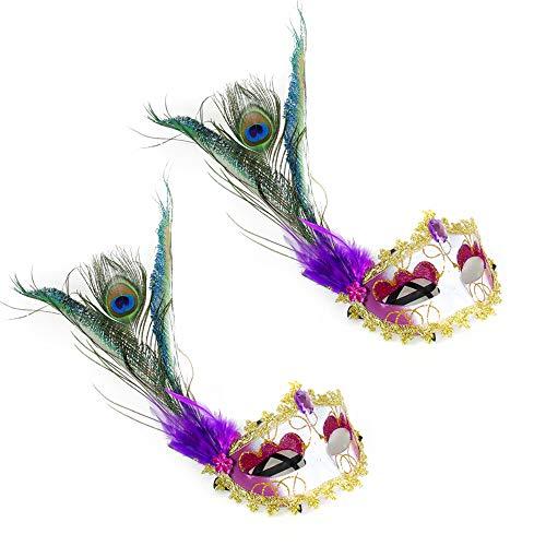BLEVET 2PCS Venezianische Maske mit Federn für Karneval Fasching Verkleidung Kostüm Halloween Cosplay Feder Maske MZ001 (Purple)
