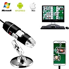 Idea Regalo - Jiusion 40 a 1000 x ingrandimento USB microscopio digitale endoscopio, 8 LED USB 2.0, mini videocamera con adattatore OTG e metallo supporto, compatibile con Mac e Windows 7 8 10 Android Linux