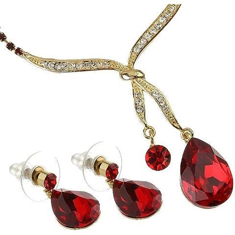 Nodo Design Set collana e orecchini, cristallo ceco pende da fine a goccia, Siam cristalli Swarovski con nodo. Delicata catena Cup Set. Orecchini pendenti a forma di pera