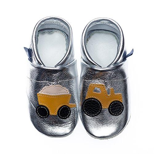 pantau.eu Kinder Lederpuschen Krabbelschuhe Lauflernschuhe mit Traktor und Anhänger SILBER_GELB_BEIGE
