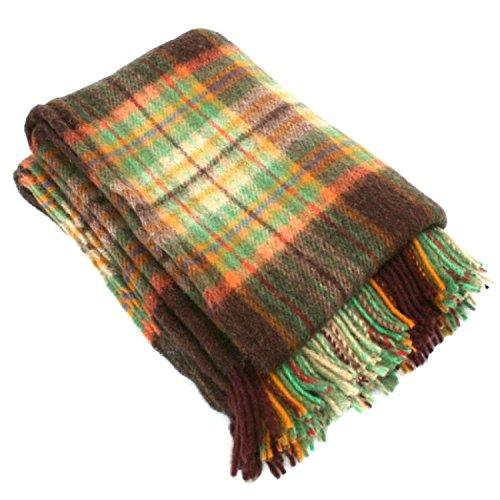John Hanly Decke/Überwurf / Picknickdecke aus 100% Wolle, Größe L und S Hergestellt in Irland, Wolle, Autumn Check, 137cm x 114cm