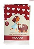 MOOVER MOOV-ru-996 Herzen Puppen-Bettwäsche/Bettzeug für Puppenbetten, Rot