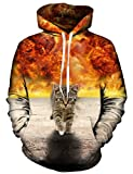 Idgreatim Teens Hoodie 3D Bedruckte Katze Lange ÄRmel Tasche Pullover Swearshirt Mittel Gelb