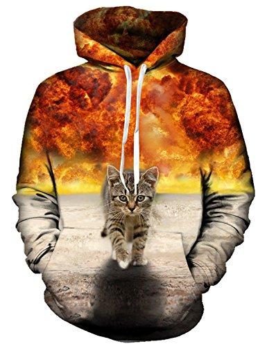 Idgreatim Frauen Kapuzenpulli 3D Bedruckte Katze Lange ÄRmel Tasche Pullover Swearshirt X-Large Gelb