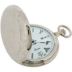 Bernex Quartz Rhodium Plated Full Hunter Masonic Gents Pocket Watch GB21213