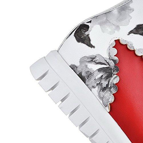 AgooLar Damen Weiches Material Schnüren Rund Zehe Mittler Absatz Knöchel Hohe Stiefel Rot