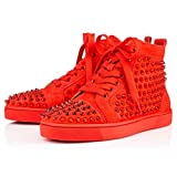 Christian Lauboutin Poppy Metall Spikes Sneaker Sportschuhe Rot Gr. 43