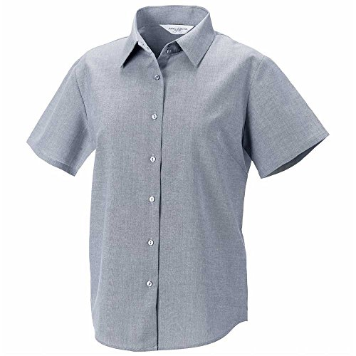 RUSSELL COLLECTION CHEMISE À MANCHES COURTES POUR FEMME OXFORD TAILLE :  8–26) silver