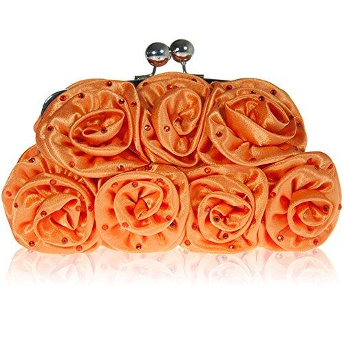 Zarla Nuova Floreale Pochette Da Donna Donne Da Sera Festa Ballo Nuziale Lustrini Baguette Arancione (arancione)