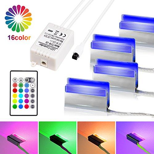 LED Glasbodenbeleuchtung, LED Vitrinenbeleuchtung 4er Set Glaskantenbeleuchtung LED Clip RGB LED Farbwechsel Schrankbeleuchtung, LED Möbelbeleuchtung Vitrine Beleuchtung-MEHRWEG