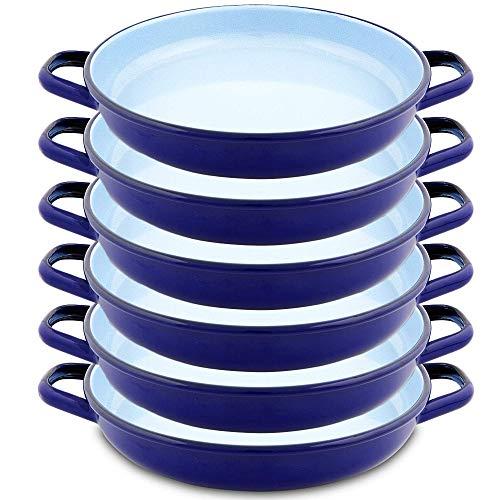 Menax - Paella Pfanne Mini - Servierpfanne - Stahl Antihaftbeschichtet - Blau - Set 6 - Ø 18 cm - Hergestellt in Spanien
