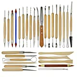 ECOSWAY 30Pcs Ceramic Clay Pottery Sculpting Carving Tool Set, Modeling Tool Kit with Double Sided Art Tools for Pottery, Clay or Wax Model Sculpting, Fruit or Wood Carving & Other Art Projects