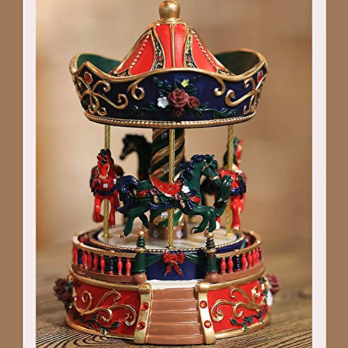 o Three-Dimensional Carved Music Box, Carousel Clockwork Color Creative Gift ()