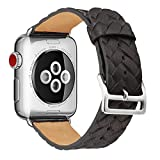 Für Apple Watch Armband 42mm Schwarz Leder Echtleder mit Metallschließe Armbänder für iwatch Series 3 2 1