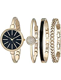 Anne Klein Women's Quartz Watch with Black Dial Analogue Display and Gold Stainless Steel Bangle AK/1470GBST